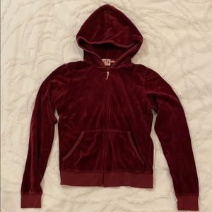 Juicy couture velour maroon zip up sweatshirt